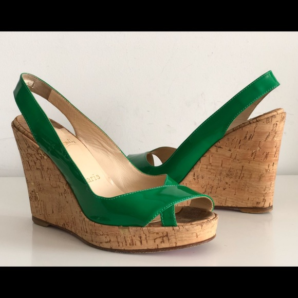 f73c24c0f15 CHRISTIAN LOUBOUTIN GREEN PATENT LEATHER WEDGE